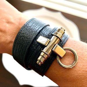 Givenchy Obsedia black tri-wrap leather bracelet
